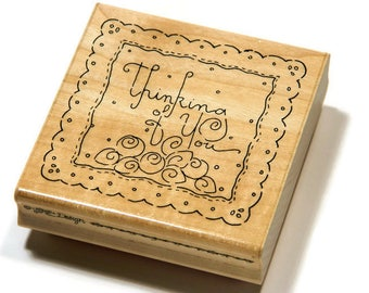 Thinking of You Stamp - JRL Design - Paper and Ink Stamps - Script Font - Stamps With Text - Scalloped Frame - Shabby Chic Roses