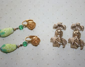 Two 2 Vintage Pairs of Clip On Earrings, Beraene Knights Gold Tone, Gold and Green Dangle