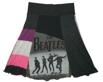 The Beatles Skirt Girls Size 10 12 Upcycled Hippie Skirt recycled owl t-shirt clothing Twinkle Skirts Twinklewear