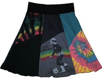 Bob Marley Recycled Clothing Women Large XL Size 12 14 Hippie Skirt Reggae Soccer upcycled t-shirt skirt Twinkle Skirts Twinklewear
