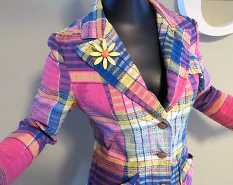Vintage 70 Seersucker Jacket 1970s Hippie Boho Groovy Candy Colored Pink & Blue Plaid Spring Summer Suit Coat Great with Bell Bottoms Small
