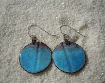 Weathered Blue Enamel Earrings  Artisan Jewelry