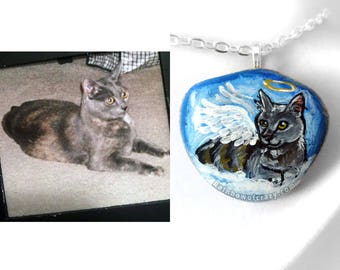 Custom Pet Portrait Pendant, Angel Necklace, Memorial Gift, Hand Painted Stone, Beach Rock Jewelry, Pet Lovers, Cat Art, Dog Artwork