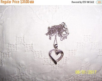 TWICE A YEAR, 25% Off Vintage Black and White faux stones heart pendant with chain. Sterling silver.