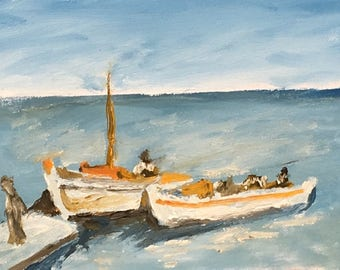 Oil painting of two Boats at the Dock