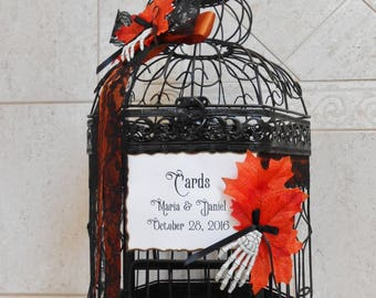Black And Orange Halloween Wedding Birdcage Card Holder
