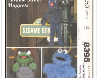McCALL'S Pattern 8395 - Sesame Street Muppet Characters to Sew - Grover - Oscar the Grouch - Cookie Monster - Uncut/FF - Vtg 1980s