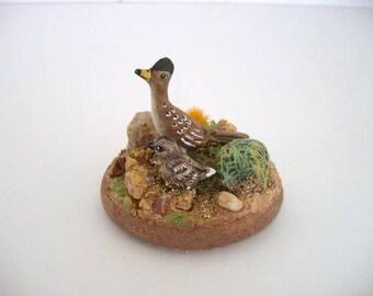 Desert miniatures, Southwestern ceramic miniatures, desert dimensional scene, roadrunners
