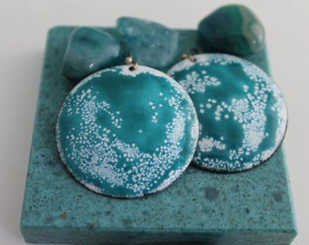 Cosmic Aqua Enamel Disc Earrings