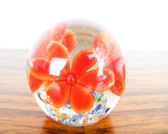 Vintage Red Flower Art Studio Glass Paperweight, Unique Colorful Swirly Pattern Design Paper Weight, Desk Accessory, Gifts for Him or Her