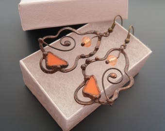 Wire earrings, orange glass beaded earrings, bohemian earrings, contemporary jewelry, best friend gift, gift for women, copper wire, Amoeba