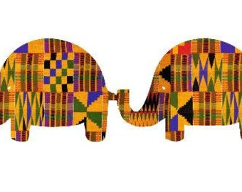 Adhesive Decal Kente Cloth Serengeti Pattern Elephant Tails Sticker - Decal For Car, Decal For Yeti, Sticker For Yeti, Sticker For Car