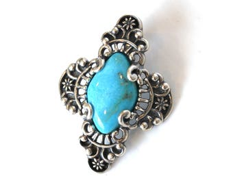 Sterling Silver & Natural Turquoise Necklace Pendant
