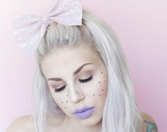 Oversized cute and sparkly pale pink glitter hair bow - kawaii
