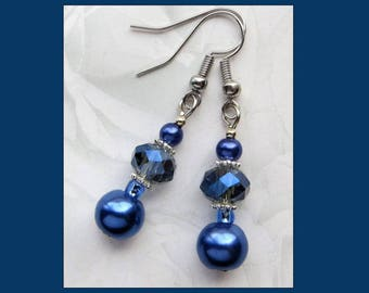 BEAUTIFUL BLUE- Handcrafted Beaded Earrings- Glass Pearl and Crystal Beads- Stainless Steel French Hook Ear Wires