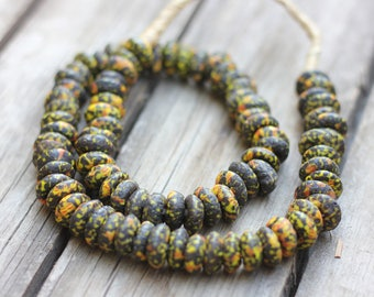 African Glass Beads, Ethnic Beads, African Trade Beads, Multi Color, Confetti Beads, Glass Beads, Hand Cast Beads, Item 1099