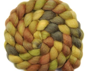 Hand painted roving - Silk / BFL wool 25/75% spinning fiber - 4.1 ounces - Bird in the Bush 2