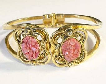 Vintage Gold Tone Coral Colored Crushed Stone Clamper Bracelet