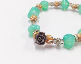 cute bracelet green and orange bracelet summer kawaii bracelet women present for mom birthday gift for her beaded bracelet girlfriend gift