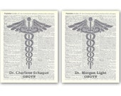 RESER VED LISTING Set of 2 personalized physician prints, physician page dictionary reproduction, caduceus logo in gray
