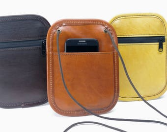 Small Leather Phone / Passport Crossbody Bag