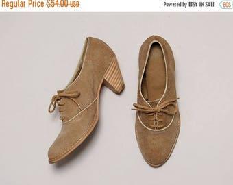 SALE Vintage Tan Suede Oxford Booties with Stacked Heels