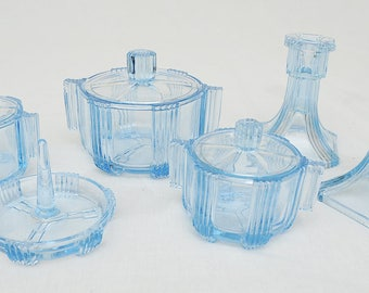 Blue Glass Dressing Table Set