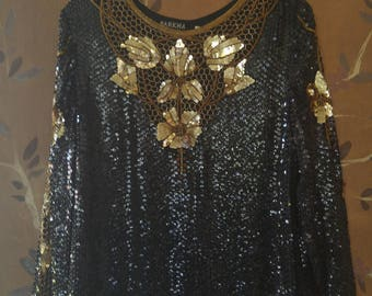 80s Indian silk black and gold sequin blouse by Barkha New York