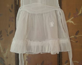 60s sheer white little girls summer dress with broderie Anglaise collar by Cinderella