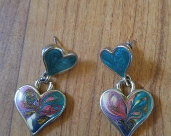 80s double heart enamel drop earrings for pierced ears