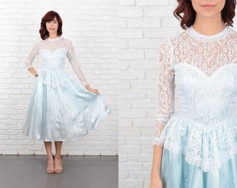 Vintage 80s Blue Peplum Lace Dress Full Floral Sweetheart Sheer Slv XXS 10726 peplum dress blue dress full dress sweetheart dress xxs dress