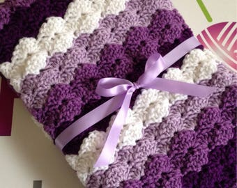 Baby Shell Crib Afghan, Purples and Creams OOAK RTS
