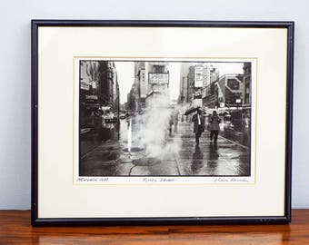 "Vintage Signed Original Chaim Kanner Photograph ""Times Square"" New York 1988k, One of A Kind Housewarming Gift Idea, Modern Home Wall Decor"