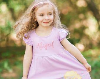 Mermaid Applique Dress, Summer Dresses for Girls, Personalized Mermaid Dress Toddler, Mermaid Dress for Girls, Girls Mermaid Dress