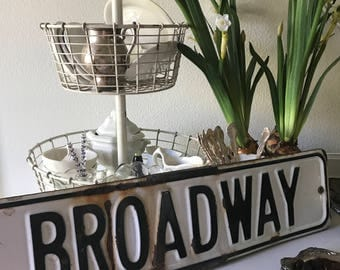 "BROADWAY - Vintage Retired Street Sign - 24"" x 6"" Advertising / Transportation / Highway Sign - Man Cave"