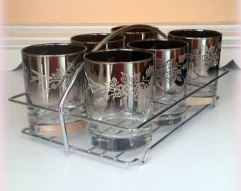 60s Silver Ombre Tumblers & Chrome Rack - Elegant Floral Etching - Mid Century Cocktail Glasses - Vintage Bar Ware - 1960s