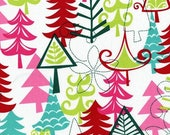 SHOP CLOSING SALE Christmas Fabric Michael Miller Holidays Yule Trees in Multi 1 yard