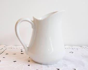 Cordon Bleu white ironstone water pitcher