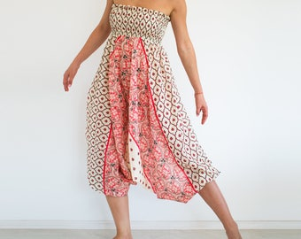 Loose jumpsuit/ boho chic jumpsuit/ Harem pants jumpsuit/ cotton harem pants/ festival yoga pants/ low crotch pants/ aladdin pants ASANA