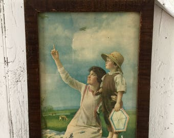 Antique framed poster mother and son The First Air Mail May 15, 1918
