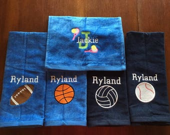 Personalized sport, volleyball, golf, bowling, basketball, archery, golf, great seller, team towels, volleyball gift with or without hook,
