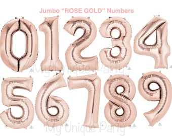 "Rose Gold Number Balloons Large 34"" Mylar Number Balloons New Rose Gold Balloons Choose your Number(s) 0, 1, 2, 3. 4, 5, 6, 7, 8,9"