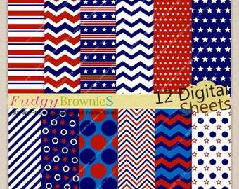 4th of July digital paper, Patriotic Digital paper 8x11, 4th of July digital background , No.222 printable background, red blue white