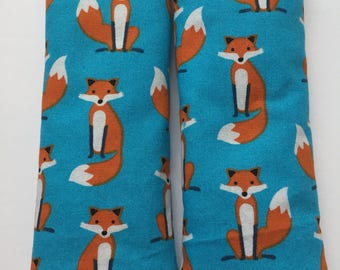 Fox on Teal- Car Seat Strap Covers/Stroller Strap Covers/Reversible Strap Covers
