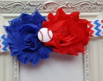 Patriotic Baseball Shabby Flower Headband - Red, White & Blue Shabby Flower Headband with Baseball Button Accent