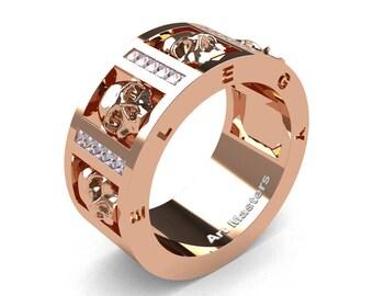 Mens Avant Garde 14K Rose Gold Channel Set Princess Diamond Skull Wedding Ring R413P-14KRGD