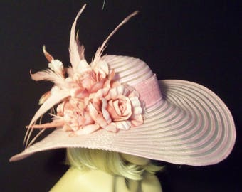 Pink Hat - Pink Roses Hat - Kentucky Derby Hat - Garden Party Hat