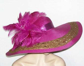 Purple Hat, Magenta Hat, Extra wide brim, Kentucky Derby Hat, Garden Party Hat or Victorian Tea Party