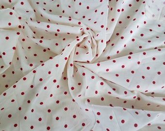 Retro Red + White Polka Dot Polyester Material - New Vintage Deadstock Dot Fabric, Cute Dress Fabric, Skirt Material, Seamstress Supplies