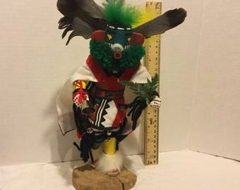 Kachina Doll, Carved Kachina Doll, Wood Carved Navajo Kachina,Navajo Morning Singer  Kachina Doll